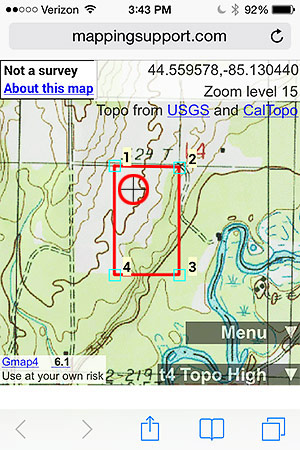 Topographic map property lines